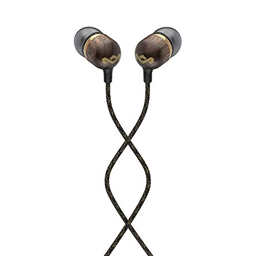 Marley Smile Jamaica Auriculares Intraureales con Cable, Micrófono Integrado, Controladores de 9,2 mm con Aislamiento de Ruido, 2 Siliconas de Distintos Tamaños, Anti Nudos, Sustentables – Bronce