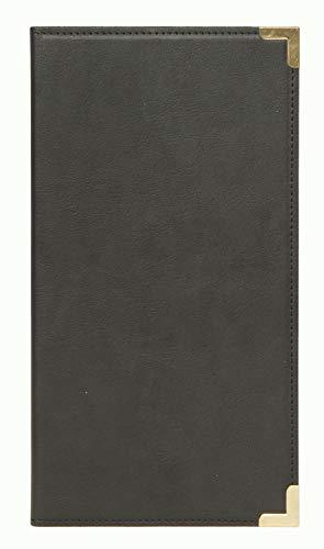 Securit -Portaconto in Pelle nero -Tasche interne - 23 x 13 cm -Angoli Protettivi in Metallo e bordi rifiniti