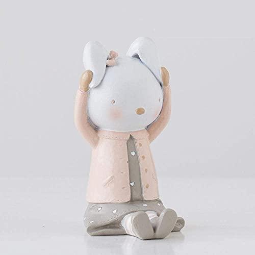 JYHZ Adornos De Artesanía De Conejo Lindos, Accesorios De Decoración del Hogar, Esculturas De Resina, Decoraciones De Living Room, Regalos De Cumpleaños, Esculturas De Estatuas Animales
