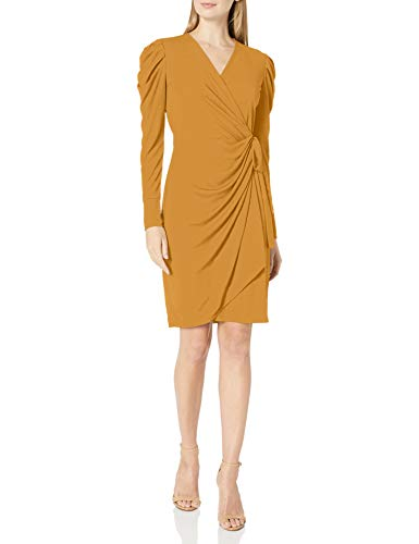 Amazon Brand - Lark & Ro Women's Long Balloon Sleeve Wrap Dress, Chai Tea, M