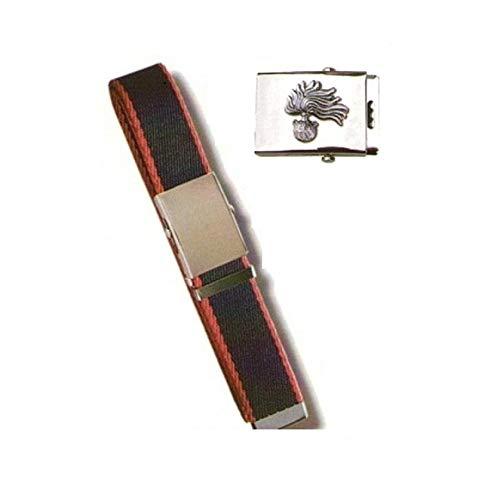 GS1 Cintura Canapa Bicolor Con Placca In Rilievo Carabinieri Fiamma Argento Art.CIN-13