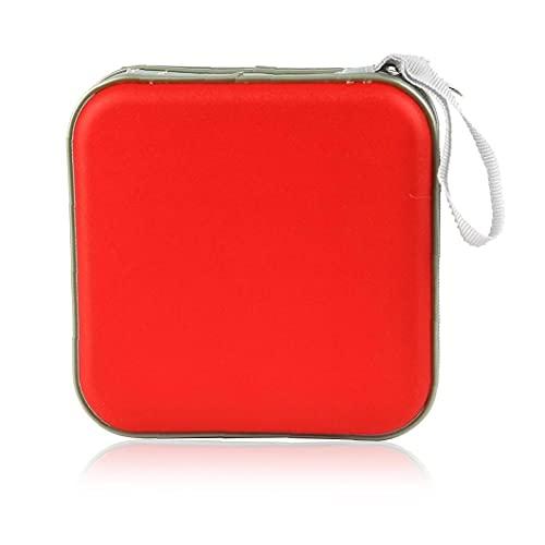 Murezima Caja de Almacenamiento de CD, CD/DVD Bolsa de Almacenamiento Caja de Almacenamiento 40 Disc Soporte de Medios portátil CD de Funda de Manga de Cartera CD Paquete de CD Rojo