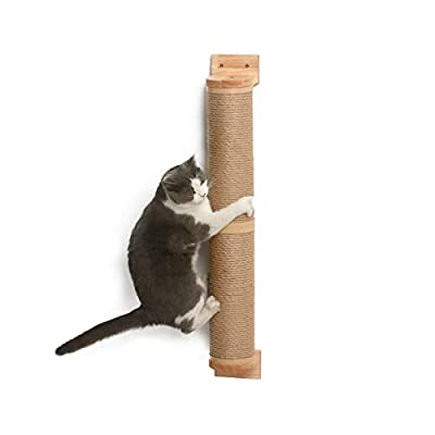 FUKUMARU Cat Scratching Post Wall Mounted, 36 Inch Tall Cat Scratch Post for Large Cats, Rubber Wood Cat Scratcher Posts for Kittens
