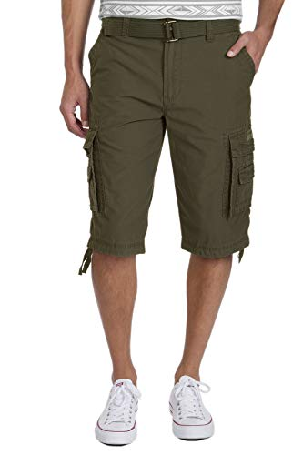 Unionbay Men's Cordova Belted Messenger Cargo Short - Reg and Big and Tall Sizes, military, 32