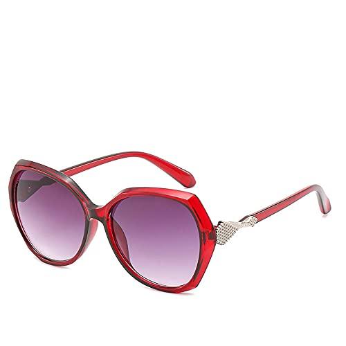 Gosunfly Gafas de sol de moda Gafas de sol de montura grande retro de tinta salvaje europea y americana-Vino tinto