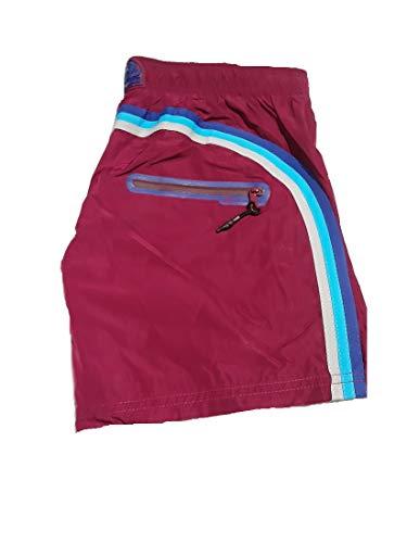 SUNDEK M552BDM600-270 Boardshort Elastic Waist Heat Transfer Pocket Wineberry Red Boxershorts für Herren, Rot Medium