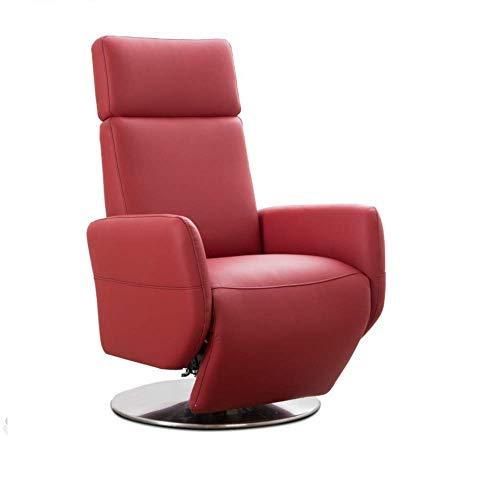 Cavadore TV-Sessel Cobra mit 2 E-Motoren / Elektrischer Fernsehsessel mit Fernbedienung / Relaxfunktion, Liegefunktion / Ergonomie L / Belastbar bis 130 kg / 71 x 112 x 82 / Echtleder Rot