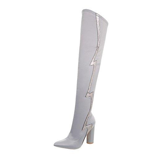 Ital Design Overknees Damen-Schuhe Overknees Pump High Heels Reißverschluss Stiefel Hellgrau, Gr 38, Jr-010-