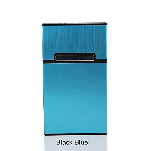 TANGIST A prueba de Polvo Accesorios para fumar Hombres Lady Regalo Cigarette Cicture Caja de contenedor de aleación de aluminio Botón magnético (Color : Black Blue)