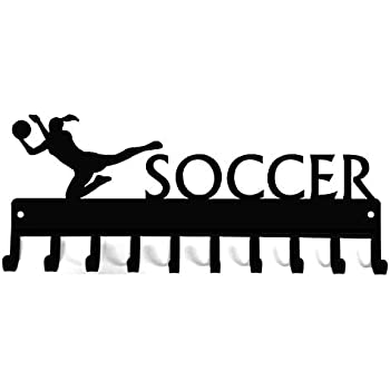 The Metal Peddler Soccer with Ball Medal Rack /& Ribbon Display