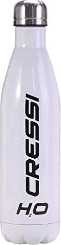 Cressi Water Bottle H20 Stainless Steel Botella Deportiva Inoxidable, Unisex Adulto, Blanco/Acero, 750 ML