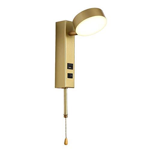 Aplique de pared, lámpara de pared LED moderna para interiores con interruptor, lámpara de pared para habitación de niños con puerto de carga USB, lámpara de noche para dormitorio, aplique de pared p