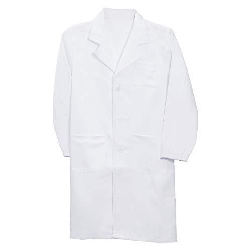 Anladia Kittel, fartuch laboratoryjny dla dzieci, Doktor Coat, płaszczyk z guzikami ochronnymi, uniseks, dla studentów, biały, Cosplay, bawełniany fartuch S