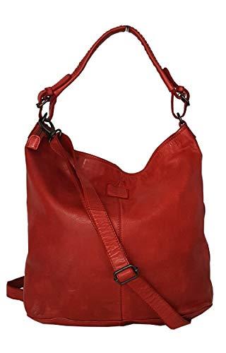 Zarolo Set, Damen Tasche Leder, Shopper, Beuteltasche, Beutel, Schultertasche aus echtem gewaschenem Leder CL32856