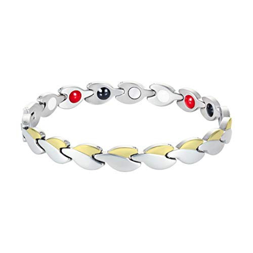 Rosian & Levine Magnetic Healing Link Bracelet for Arthritis, Migraine & Pain Relief, Osteoarthritis, Menopause Support, Hot Flushes, Carpal Tunnel Men & Women (Silver/Gold)