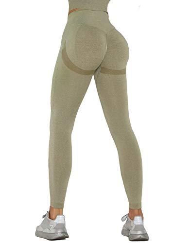 MANIFIQUE Workout Leggings Damen Seamless Butt Lifter Fitnesshose Blickdicht Kompressions Sportleggings Hohe Taille Yoga Tights Jogginghose Slim Fit Laufhose Bauchkontrolle Grün