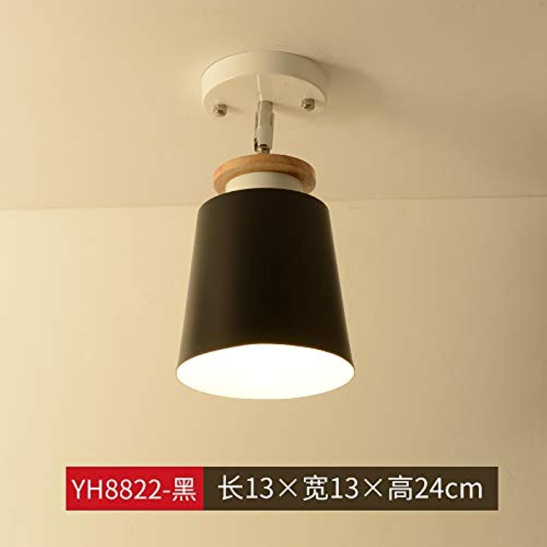 Agorl Nordic Aisle Deckenleuchte moderne minimalistische Holzflurlampe Balkon Zimmerbeleuchtung, khaki YH8822-schwarz + warmes Licht