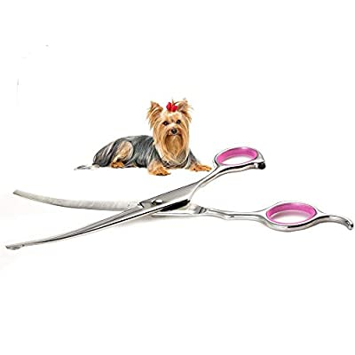 Dog Grooming Scissors Curved 7 Inch Stainless Steel with Safety Round Tips Professional Pet Grooming Shears for Dogs and Cats from CorDog