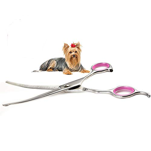 Dog Grooming Scissors Curved 7 Inch Stainless Steel with Safety Round Tips Professional Pet Grooming Shears for Dogs and Cats