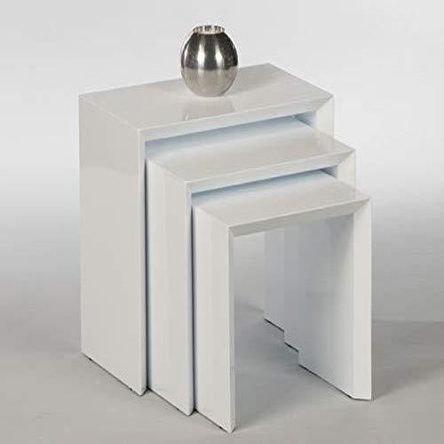 Set van 3 bijzettafels Treviso 16815 aanzettafels telefoontafels wit hoogglans
