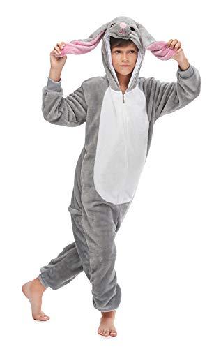 FunnyCos Unisex Kinder Einteiler mit Kapuze, Tiermotiv, superweich, Flanell-Kostüm, Pyjama Gr. 120 cm (Höhe 110/120 cm), Langohr Kaninchen