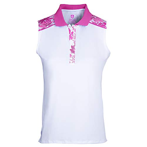 Island Green Polo para Mujer Iris con Estampado Floral, Transpirable, sin Mangas, Camiseta de Golf, Mujer, Camisa de Golf, IGLTS2057_WTHPK_S, Blanco/Fucsia, S