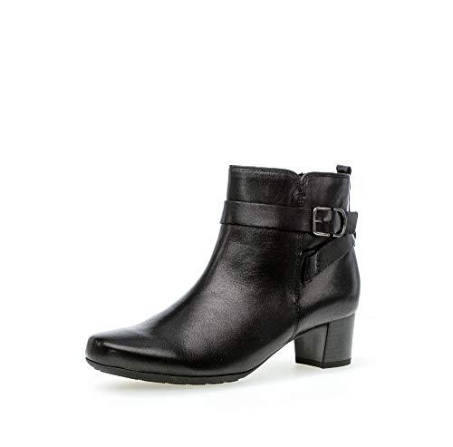 Gabor Damen Stiefeletten, Frauen Ankle Boots,Comfort-Mehrweite,Reißverschluss, Lady Ladies feminin elegant Women's,schwarz (Flausch),41 EU / 7.5 UK