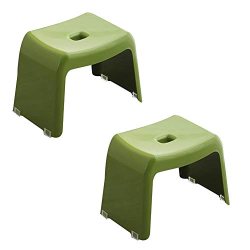 KKCF Asiento para Ducha Estilo Japones El Plastico Antideslizante La Seguridad Silla De Casa Taburete Cuadrado, 4 Colores (Color : Green, Tamaño : 37.5x24.5x26.5cm)