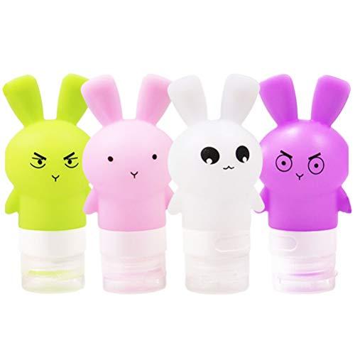 Uonlytech 4 Stück 75ml Tragbare Reiseflasche Kaninchen-Toilettenflaschen Nachfüllbare Shampoo-Lotion Flüssigkeitsbehälter-Kit Reisezubehör (Pink + Lila + Grün + Weiß)