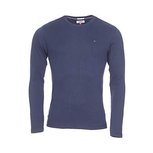 Tommy Jeans Original Rib Maglietta a Maniche Lunghe, Blu (Black Iris 002), M Uomo