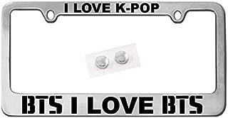 The ArtDeco Customized License Plate Frame I Love BTS/K-POP - Silver - Chrome + Bonus BTS Decal (Same Color) Shiny Chrome/Universal Fit (Black)