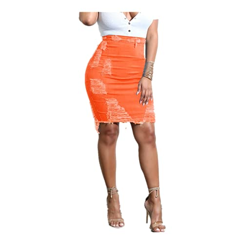N\P Falda de mezclilla para mujer de cintura alta rasgada Denim desgastado lápiz Mini Jean Faldas