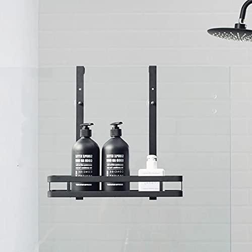 EUNEWR Estantería de ducha para colgar sobre la mampara,cesta portagel para grifería de ducha,estanteria telescopica baño acero inoxidable con ganchos y ventosas,para champú/jabón,negro,1/2 nivel