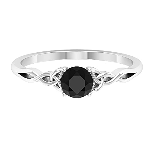 Anillo solitario de diamante negro de corte redondo de 5 mm, engastado de 4 puntas con detalles celtas de oro (calidad HI-SI), oro blanco de 14 quilates, diamante negro, tamaño: US 5.00
