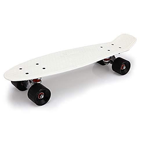 YULINGSTYLE Mini Skateboard Crulser, Penny Board 22' di Lunghezza X 6' di Larghezza per Adatto per I Principianti E Gli Adolescenti, Ragazzi E Ragazze del Regalo di Compleanno (White)