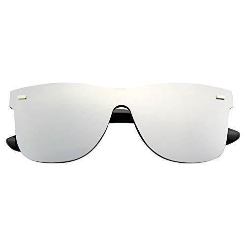 Emblem Eyewear - Uomo Donna Occhiali Da Sole Senza Montatura Riflettenti Con Lenti Colorate A Specchio (Argento)
