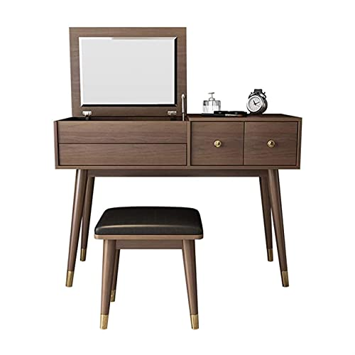 DSWHM Vanity Table with Flip Top Mirror and Cushioned Stool, Wooden Makeup Dressing Table Writing Desk with Drawer, Bedroom Bathroom Dressing Set for Kids Girls Women