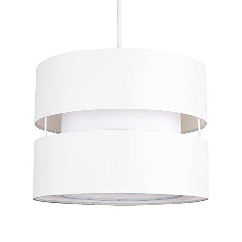 MiniSun – Zweischichtiger Stoffschirm mit zweifarbigem Finish (Creme/Weiß) – Lampenschirm Decke Weiß – Deckenlampe Stoffschirm - Stofflampenschirme – Lampenschirme für Hängelampen, Cremefarben/Weiss (Polybaumwolle, 26 cm)