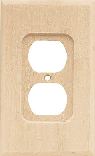Brainerd 64666 Wood Square Single Duplex Outlet Wall Plate/Switch Plate/Cover, Unfinished