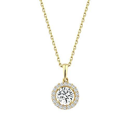 GIORO Leoni 585 Gold Halskette mit Swarovski-Steinen besetzt Damen-Collier Anhänger Schmuck mit Swarovski-Kistallen