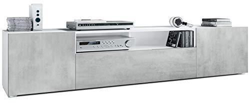 Vladon TV Board Lowboard Mogan, Korpus in Weiß matt/Fronten in Beton Oxid Optik
