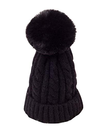 Legou - Cappello invernale da donna con pompon in pelliccia sintetica - nero - Taglia unica
