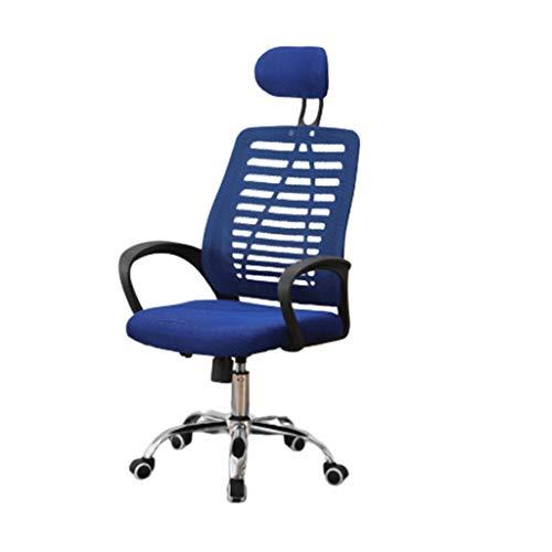 Silla de juego Silla Silla equipo del hogar for trabajar en una silla de oficina silla de un miembro del personal Reunión residencia de estudiantes Cabeza Almohada Silla de oficina ( Color : Blue )