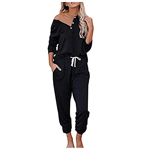 Kpasati Damen Sommer Einfarbig V-Ausschnitt Kurzarm + Hose Lange Casual Drawstring Sportbekleidung 2-teiliges Set