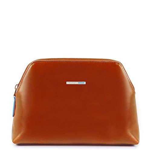 Piquadro Nécessaire Collezione Blue Square Beauty Case, Pelle, Arancione, 22 cm