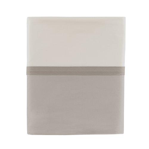 Essix - Drap Plat Toi & Moi Percale de Coton Meringue/Gris Perle 180 x 290 cm