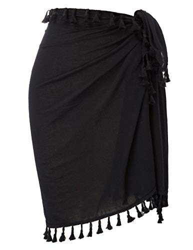 Kate Kasin Women Beach Long Sarong Swimsuit Cover up Wrap Pareo with Tassel for Women Girls Black S