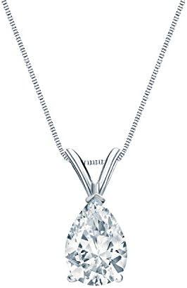1/4 Carat Pear-Cut Diamond Solitaire Pendant...