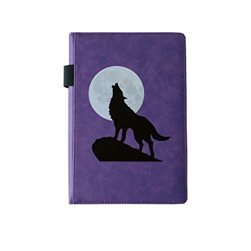 EJRange Cuaderno A5 a rayas, de piel sintética, con tapa, tacto suave, cinta, rayado, 192 páginas, diseño de lobo (morado)