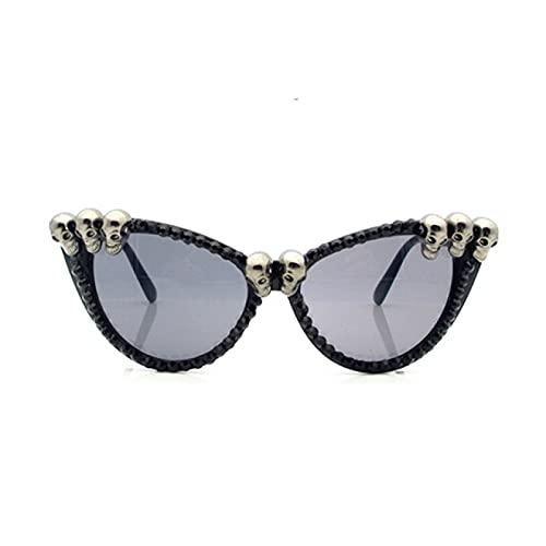 Yetier Gafas de Sol, Gafas de Sol góticas Negras con Calavera de Ojo de Gato Negro para Mujer, Gafas Redondas Vintage para Mujer